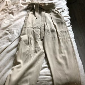Aritzia White Cream High Waisted Pant 00 Tie Front